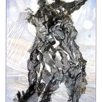 Fetzenbild 6 / Druckgaze und Material / 32 cm x 47 cm / 1992-2007