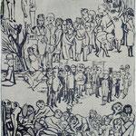 Gesellschaftsform / Linolschnitt / 85 cm x 50 cm / 1963