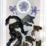 Fetzenbild 20 Froschkonzert / Druckgaze und Material / 32 cm x 47 cm / 2009