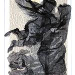 Fetzenbild 16 / Druckgaze und Material / 32 cm x 47 cm / 1998