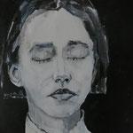 Mit geschlossenen Augen, 24 x 24 cm, Acryl auf Papier