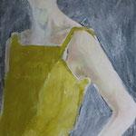 Im goldenen Kleid, 45 x 85 cm, Acryl auf Leinen