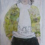 Die gelbe Jacke, 80 x 120 cm, Acryl auf Leinen
