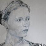 Kopfstudie, 80 x 80 cm, Acryl auf Leinen