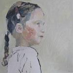 Mädchen mit Zopf, 40 x 40 cm, Acryl auf Leinen