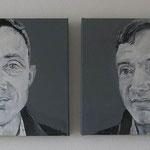 Donald I und II, je 40 x 40 cm, Acryl auf Leinen