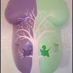 Handbemalter Gipsabdruck mit Lebensbaum...