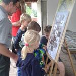 Die Kinder betrachten eine Schautafel