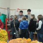 Herr Rapp erklärt uns was mit dem Apfel beim Pressen passiert...