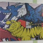 2014年の楽天イーグルス交流戦のポスターです。セリーグ球団が劇画風に表現されていました(県連書記局)