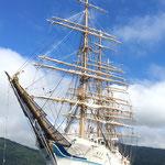 帆船「海王丸」が帆を上げた状態でしたが、逆にめずらしいと思い撮影しました(江刺建築組合事務局)