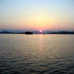 東野地区の白水から撮影した夕日