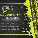 Recto de la carte de visite d'ART Driving, école de pilotage en Haute-Savoie