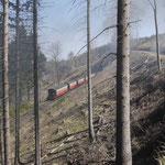 die Harzquerbahn verschwindet in ihrem Tunnel