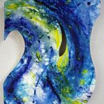 「aqua101」 600×500mm ベニヤ板、画用紙、油彩、水彩、合成樹脂 2012