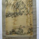 japanisches Rollbild vor der Restaurierung