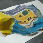 """Rudolf Petrik, """"Das gelbe Haus"""", Acryl auf Papier, um 1959, 40x56 cm"""