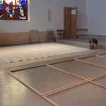 konservatorische Montage des Altarbildes