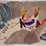 Max Weiler, Durchzug der Israeliten durch den Jordan, 1956, Eitempera/Papier