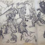 Arthur Brusenbauch, Reineke Fuchs (linke Seite), Kohle und Aquarell/Transparentpapier, Sammlung der Kulturabteilung der Stadt Wien-MUSA