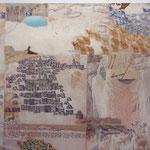 Neuwirth, Collage (Pergament, Papier, Schlangenhaut, Pflanzenteile auf Pressspanplatte), Sammlung der Kulturabteilung der Stadt Wien-MUSA