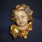 3A - volto d'Angelo con fiocco -  scultura in legno dipinta a mano