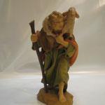 """44T - Pastore con pecora """"COSTA""""  in legno scolpito e dipinto a mano"""
