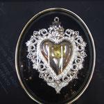3 c -Cuore in argento con cornice varie misure