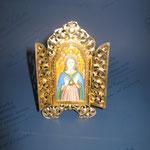 8q - Miniatura da poggiare dipinta a mano du avorio con sportellini lavorazione a mano  in argento