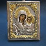 18 G - Icona in argento placcato oro dipinta a mano