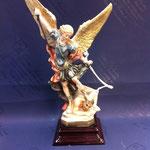 65 - Arcangelo Michele con drago in polvere di marmo colorato con base in legno