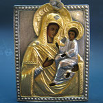 13 G - Icona in argento placcato oro dipinta a mano