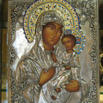 17 G - Icona in argento placcato oro dipinta a mano