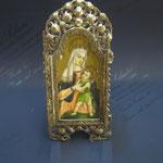 9q - Miniatura da poggiare dipinta a mano su avorio con sportellini lavorazione a mano in argento