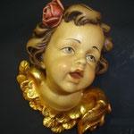 2A - volto d'Angelo con rosa - scultura in legno dipinta a mano