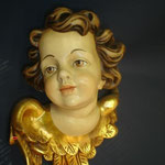 1A - volto d'Angelo -  scultura in legno dipinta a mano