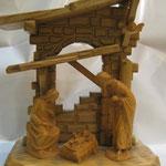 """36T - Presepe """"ANRI KOOD"""" in legno naturale scolpito a mano"""