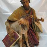 """21T - Uomo con capra di """"ANGELA TRIPI"""" in terracotta e tessuto vero"""