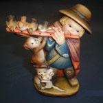 """12P- Il piccolo pifferaio - """"ANRI FERRANDIZI"""" scultura in legno dipinta a mano"""