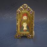 11q - Miniatura da poggiare dipinta a mano su avorio con sportellini lavorazione a mano su avorio