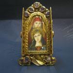 6o - Miniatura da poggiare dipinta  a mano su avorio con sportellini lavorazione a mano in argento dorato