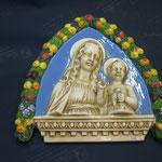 """16q - Quadro in porcellana """"De Ruta"""" Madonna con Bambino"""