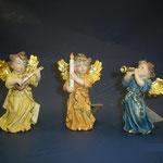 13A - Angeli con strumenti e candela - sculture in legno dipinte a mano