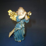14A - Angelo con tromba - scultura in legno dipinta a mano