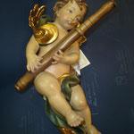 7A - Angelo con fagotto - scultura in legno dipinta a mano