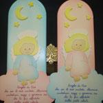 3D- Preghiera Angelo di Dio azzurro e rosa in legno dipinto a mano