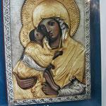 9 G - Icona in argento placcato oro dipinta a mano