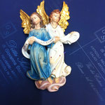 20A - Coppia di Angeli da appendere - scultura in legno dipinta a mano