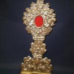 2I - reliquario in argento con base in legno dorato del '600