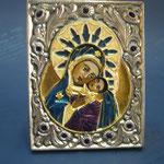 19 G - Icona in argento placcato oro dipinta a mano con smalto a fuoco